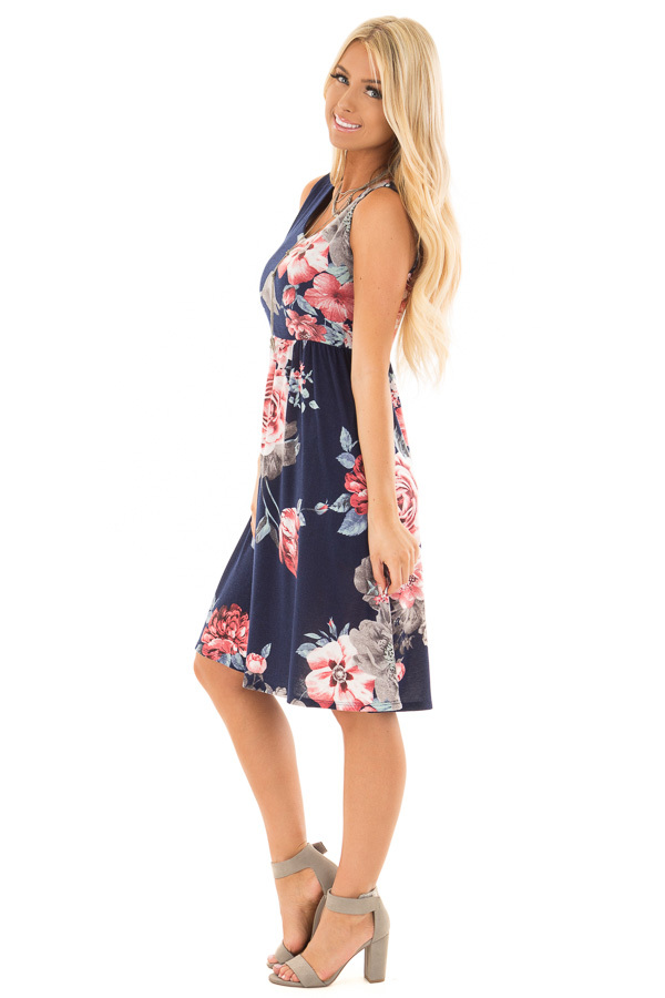 Navy Floral Print Dress with Hidden Pockets side full body