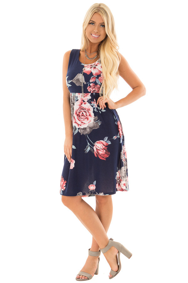 Navy Floral Print Dress with Hidden Pockets front full body