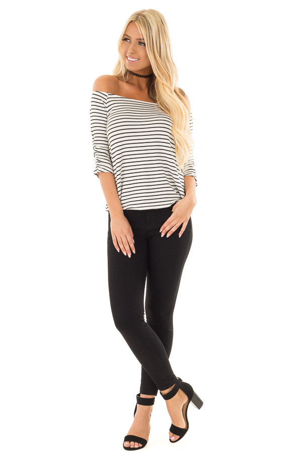 Black and White Striped Off Shoulder Top front full body