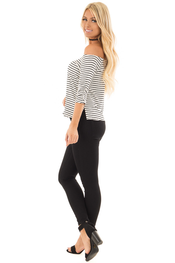 Black and White Striped Off Shoulder Top side full body