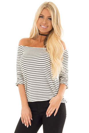 Black and White Striped Off Shoulder Top front close up