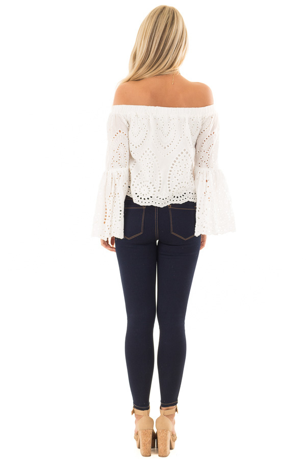 White Eyelet Lace Off the Shoulder Bell Sleeve Top back full body