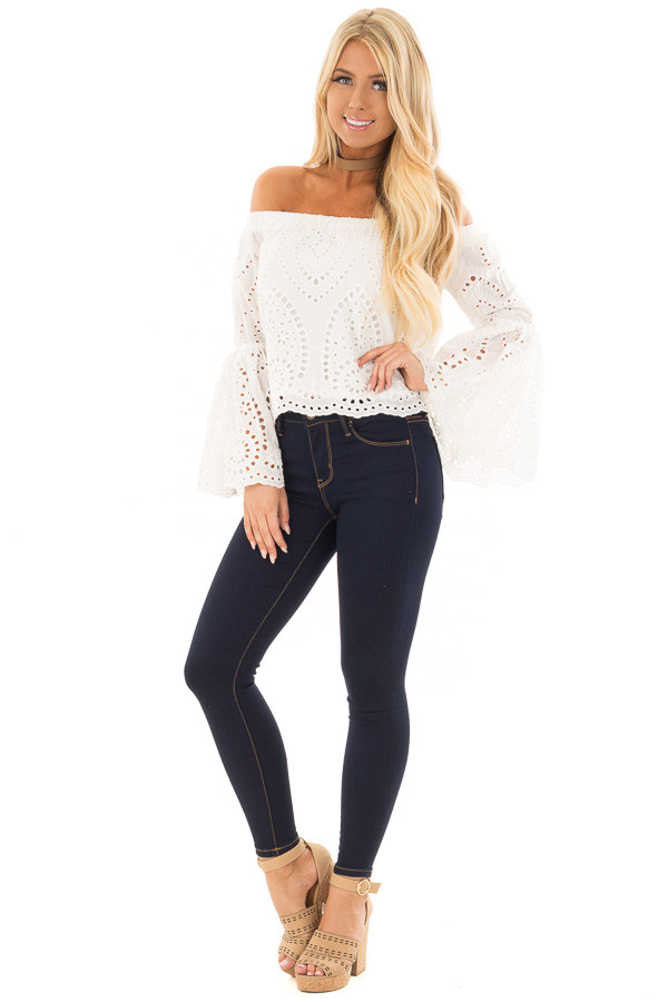 White Eyelet Lace Off the Shoulder Bell Sleeve Top front full body