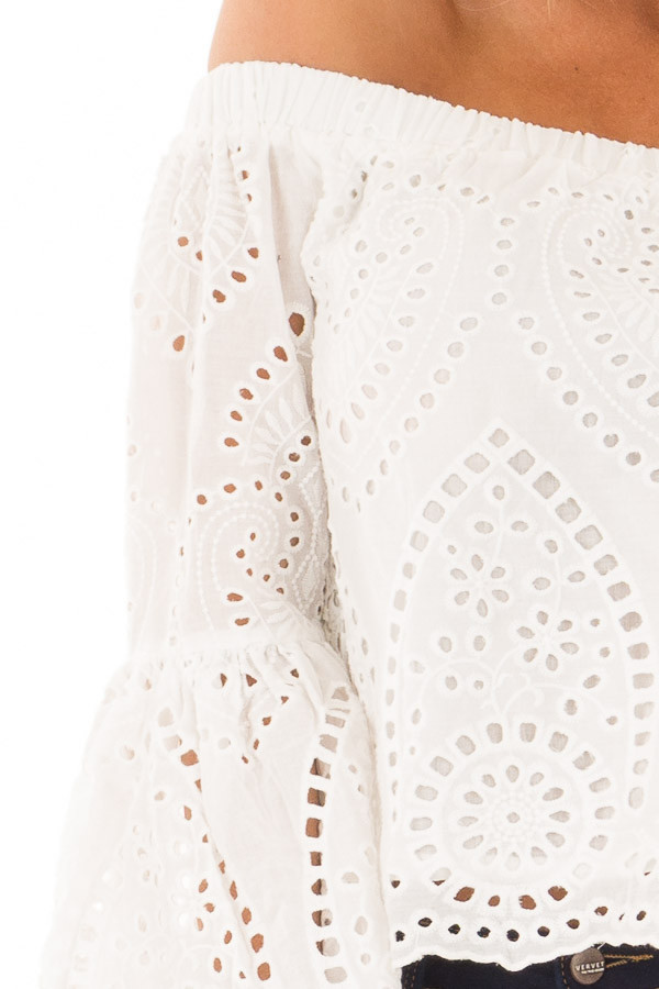 White Eyelet Lace Off the Shoulder Bell Sleeve Top detail