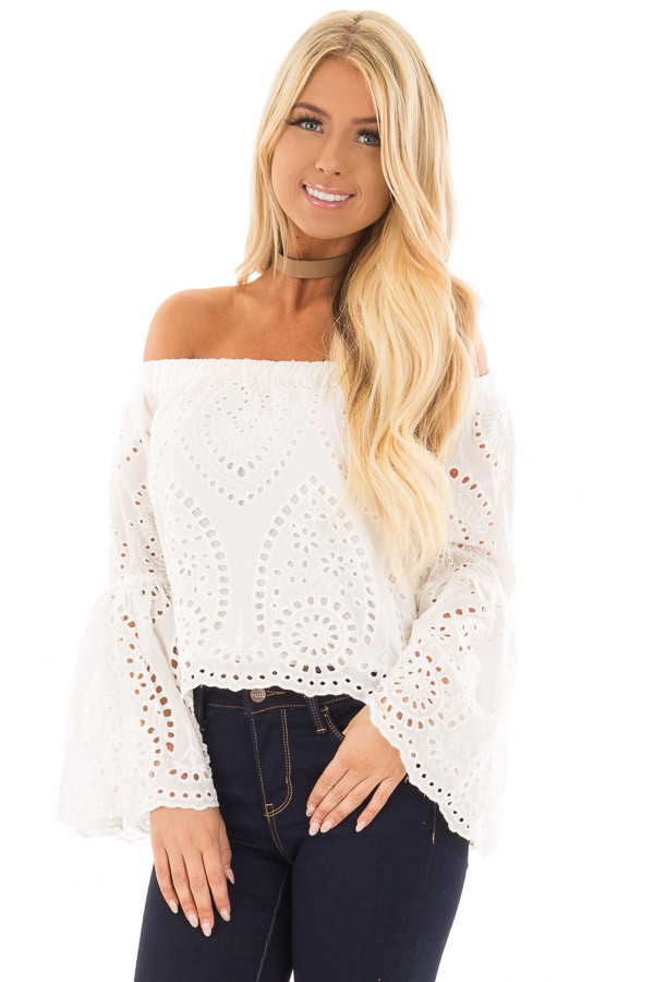 White Eyelet Lace Off the Shoulder Bell Sleeve Top front close up