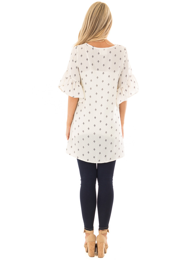 Ivory Patterned Ruffle Sleeve Tunic with Embroidery Detail back full body