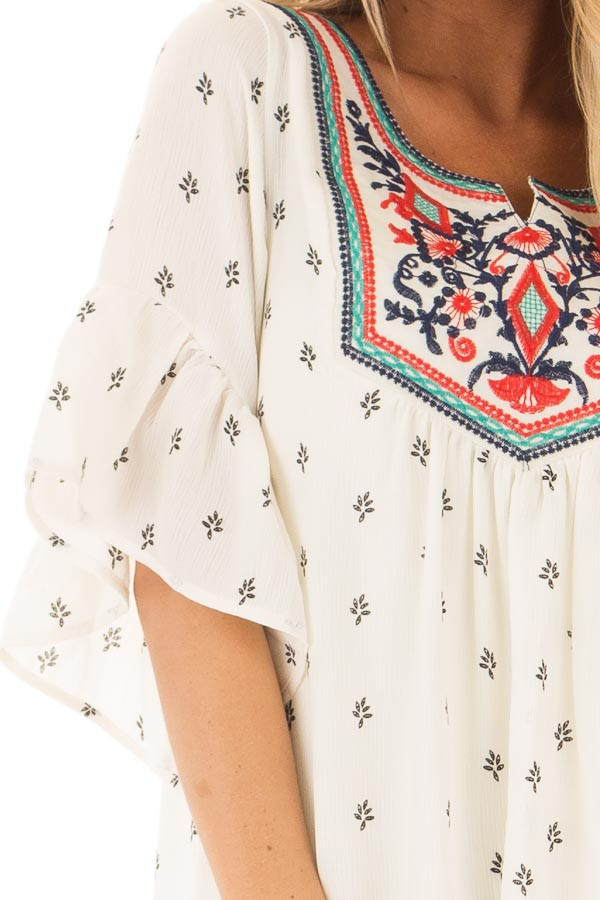 Ivory Patterned Ruffle Sleeve Tunic with Embroidery Detail detail