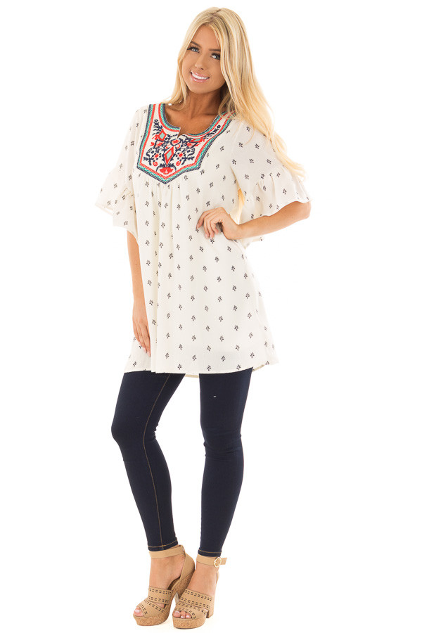 Ivory Patterned Ruffle Sleeve Tunic with Embroidery Detail front full body