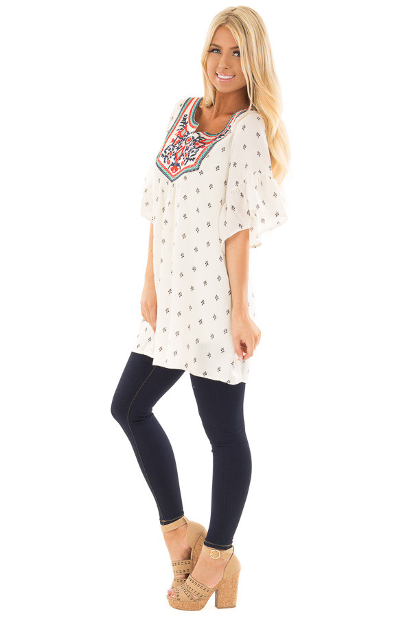 Ivory Patterned Ruffle Sleeve Tunic with Embroidery Detail side full body
