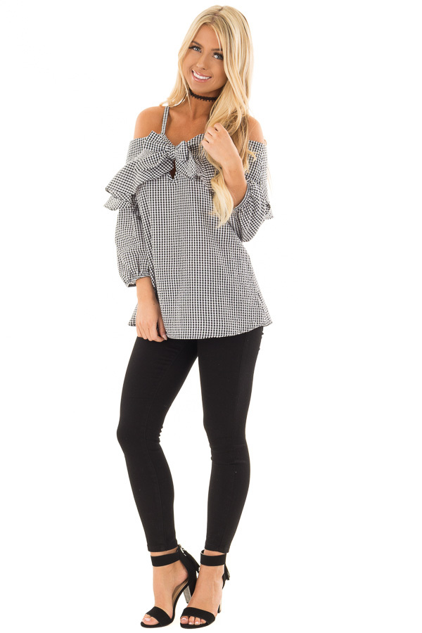 Black and White Checkered Cold Shoulder Top with Tie Detail front full body