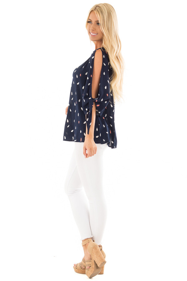 Navy Feathered Top with Cold Shoulder Tied Sleeves side full body