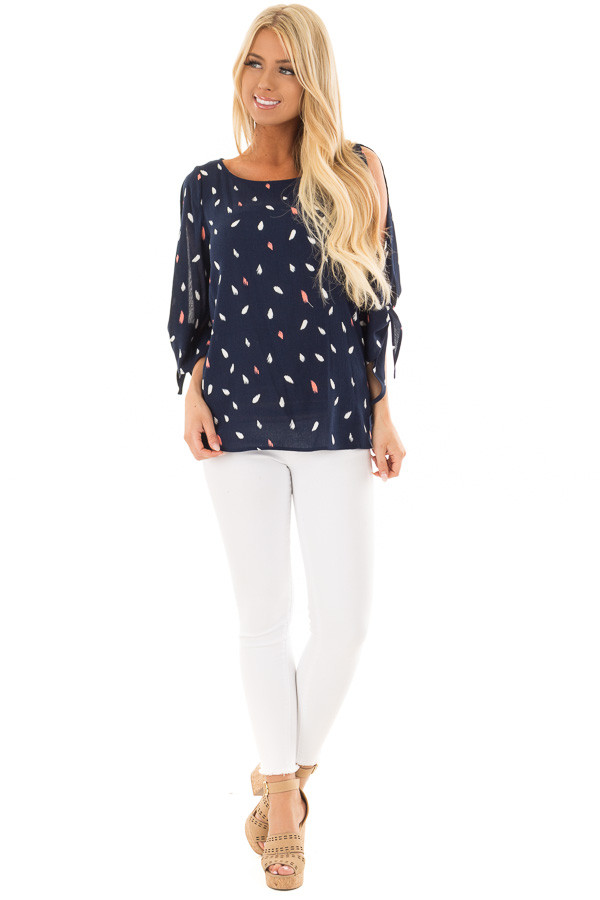 Navy Feathered Top with Cold Shoulder Tied Sleeves front full body