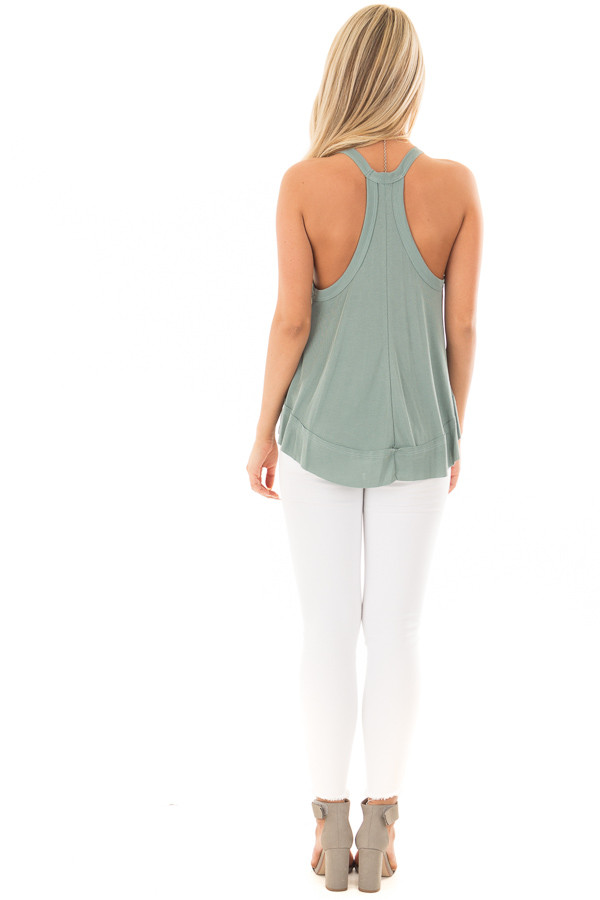 Sage Evergreen Flowy Soft Knit Tank Top back full body