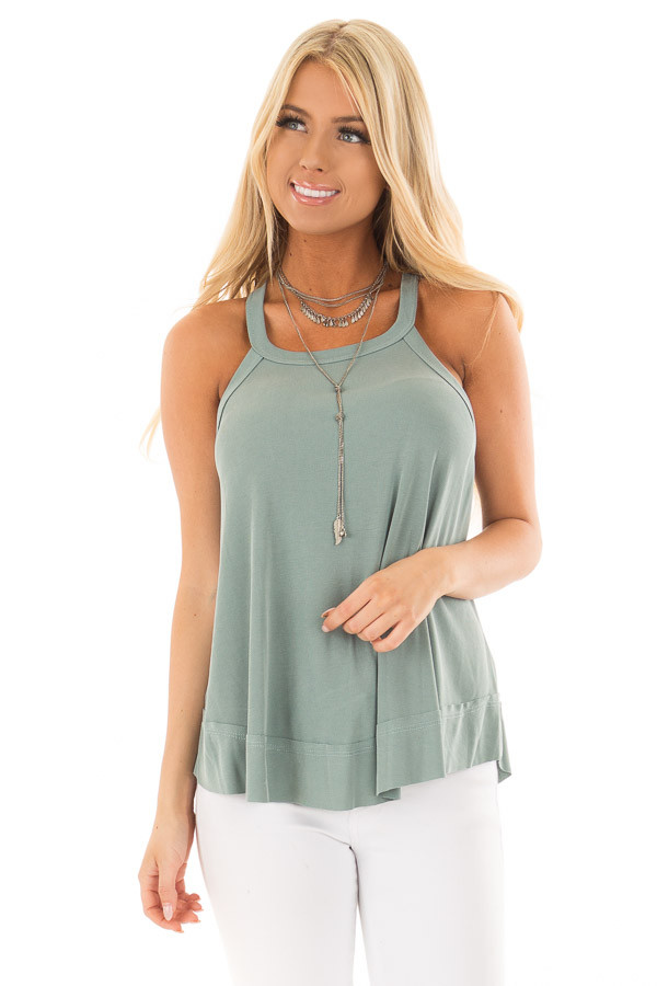 Sage Evergreen Flowy Soft Knit Tank Top front close up