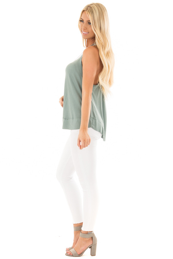Sage Evergreen Flowy Soft Knit Tank Top side full body