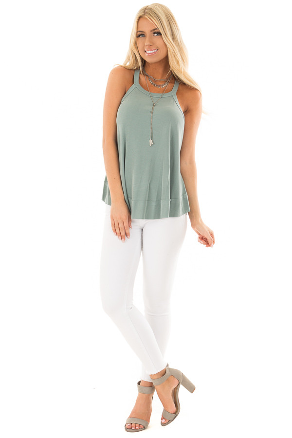 Sage Evergreen Flowy Soft Knit Tank Top front full body