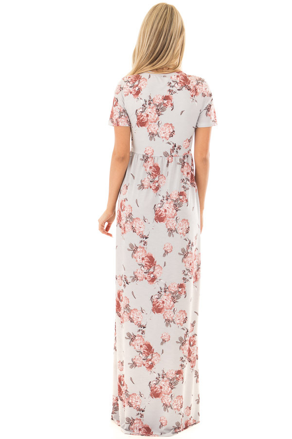 Silver Floral Print Maxi Dress with Hidden Pockets back full body
