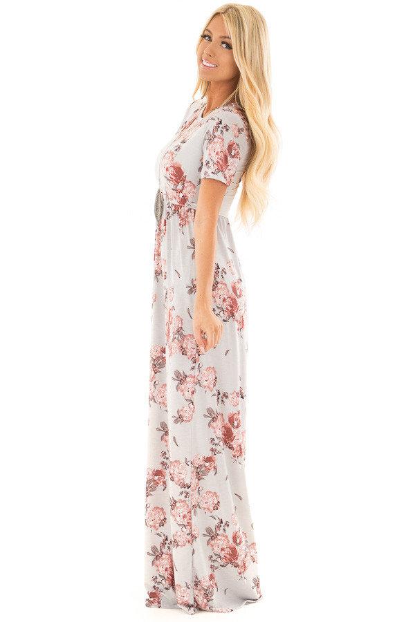 Silver Floral Print Maxi Dress with Hidden Pockets side full body