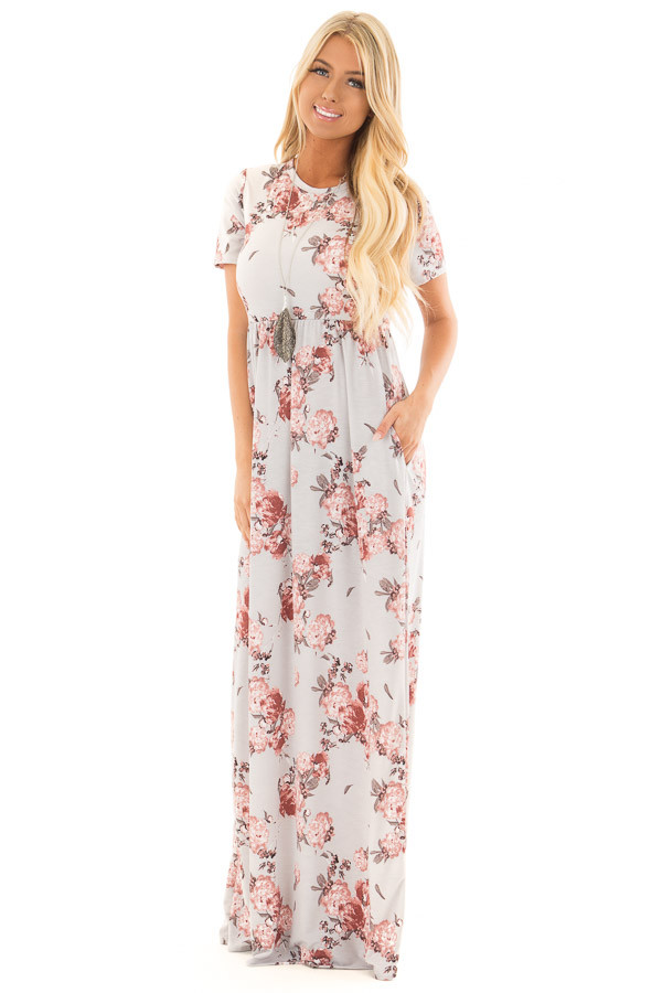 Silver Floral Print Maxi Dress with Hidden Pockets front full body