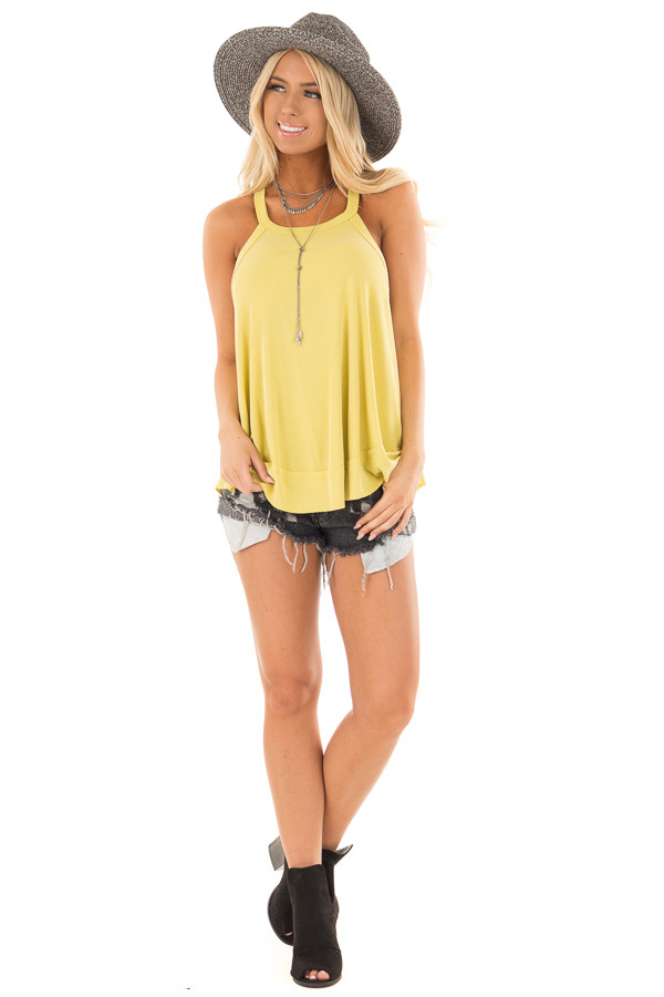 Sunflower Flowy Soft Knit Tank Top front full body