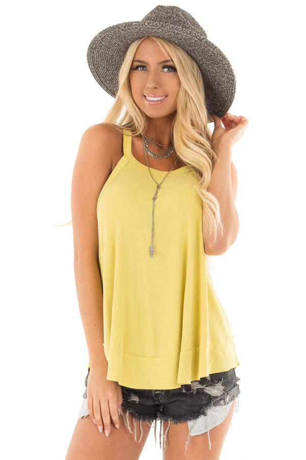 Sunflower Flowy Soft Knit Tank Top front close up