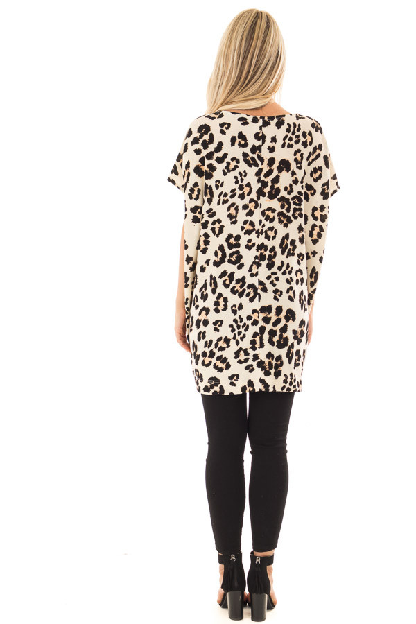 Cream Leopard Print Oversized Tunic with Pockets back full body