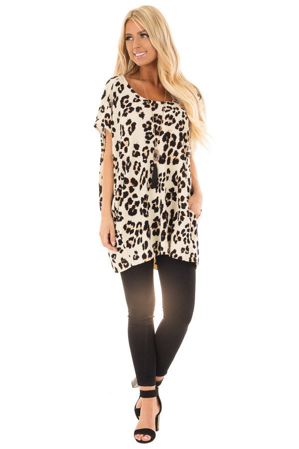 Cream Leopard Print Oversized Tunic with Pockets front full body