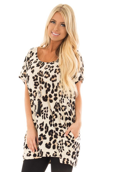 Cream Leopard Print Oversized Tunic with Pockets front close up