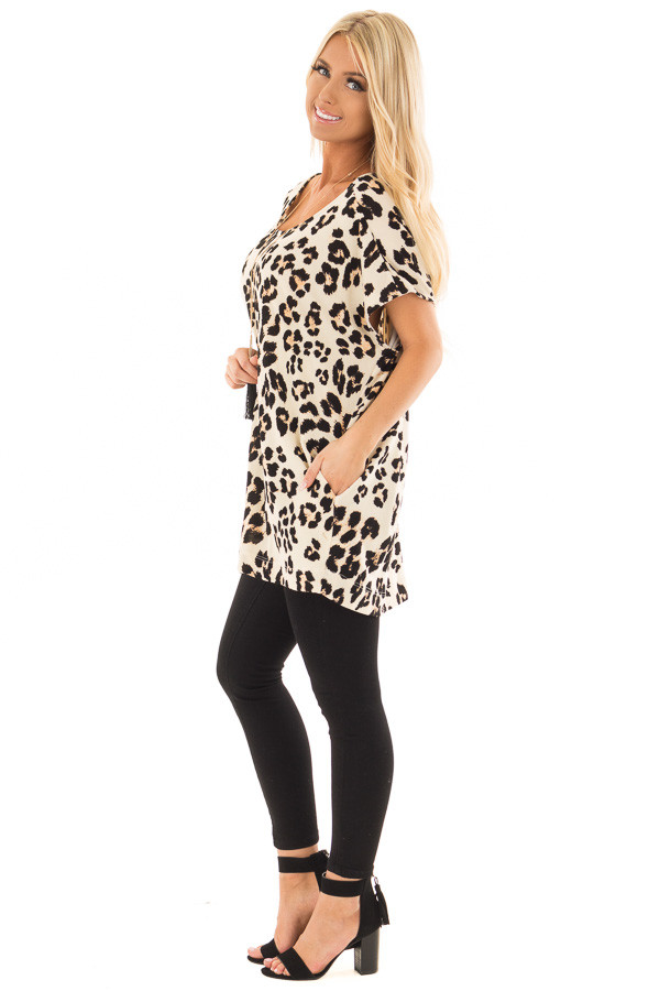 Cream Leopard Print Oversized Tunic with Pockets side full body