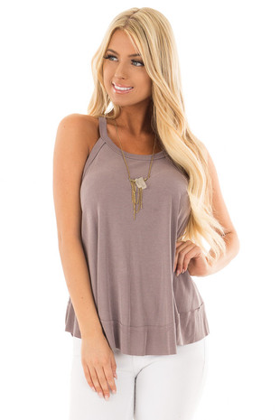 Misty Lilac Flowy Soft Knit Tank Top front close up