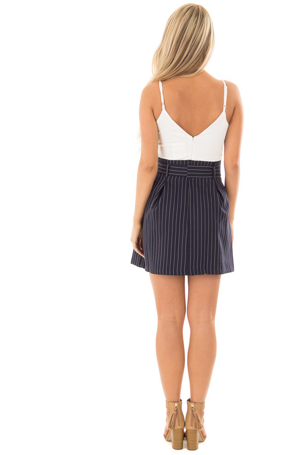 Navy Pinstripe Dress with White Contrast and Waist Tie back full body