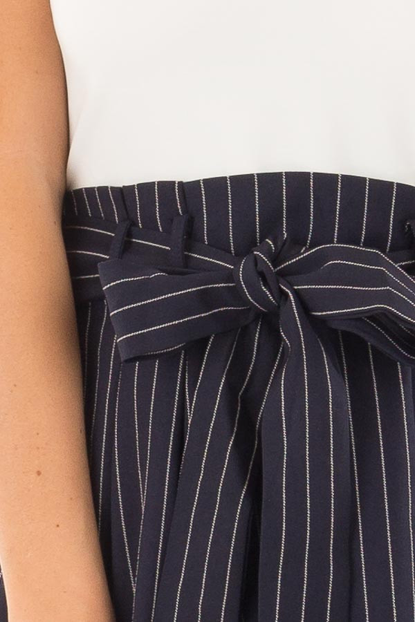 Navy Pinstripe Dress with White Contrast and Waist Tie detail