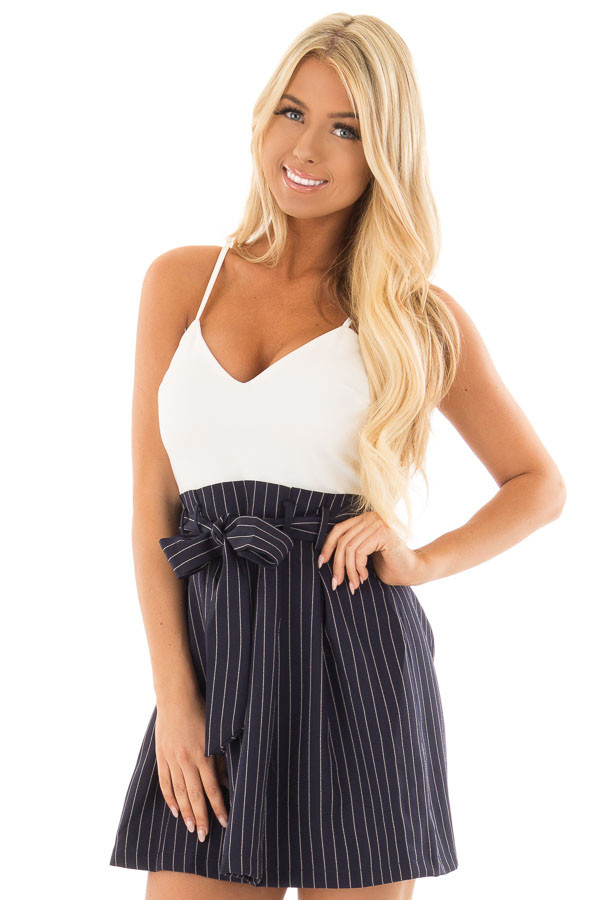 Navy Pinstripe Dress with White Contrast and Waist Tie front close up