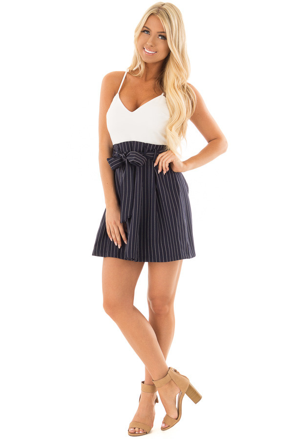 Navy Pinstripe Dress with White Contrast and Waist Tie front full body