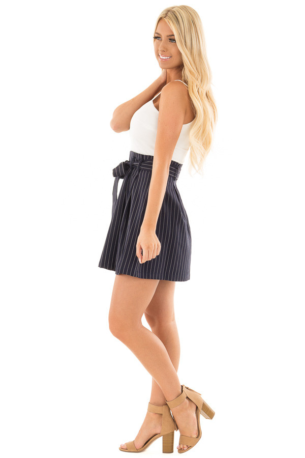 Navy Pinstripe Dress with White Contrast and Waist Tie side full body