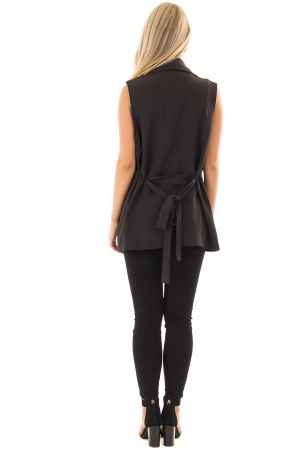 Black Blazer Vest with Waist Tie Detail back full body