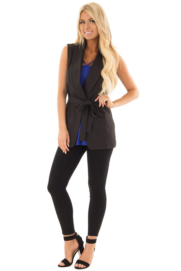 Black Blazer Vest with Waist Tie Detail front full body