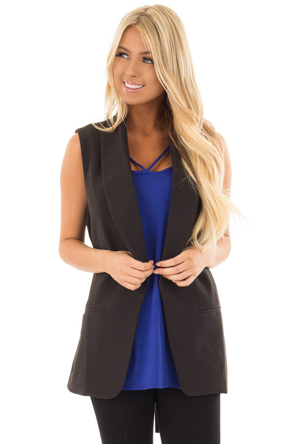 Black Blazer Vest with Waist Tie Detail front close up