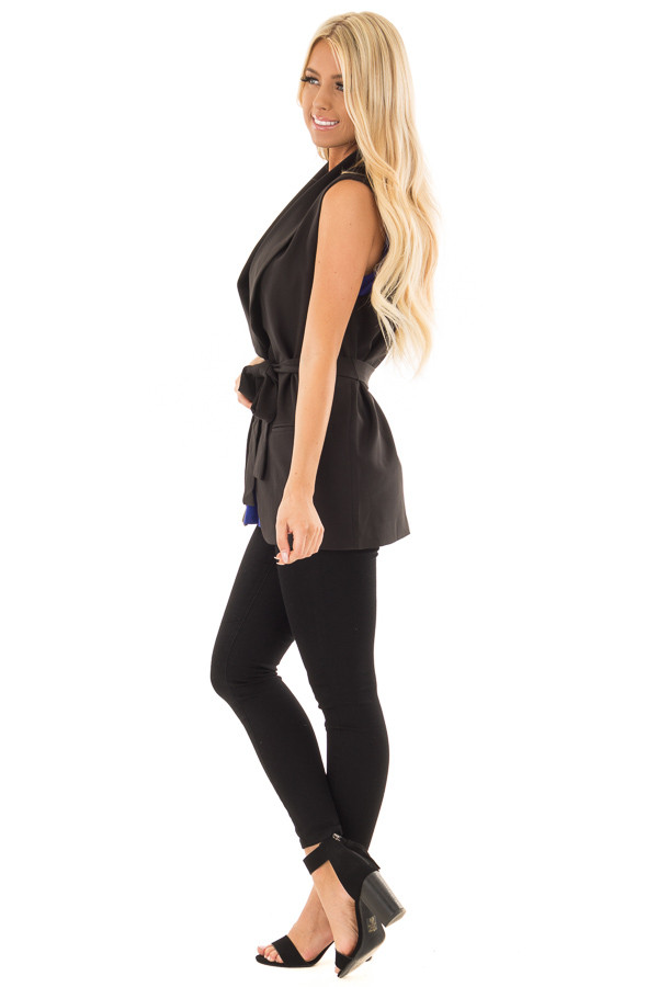 Black Blazer Vest with Waist Tie Detail side full body