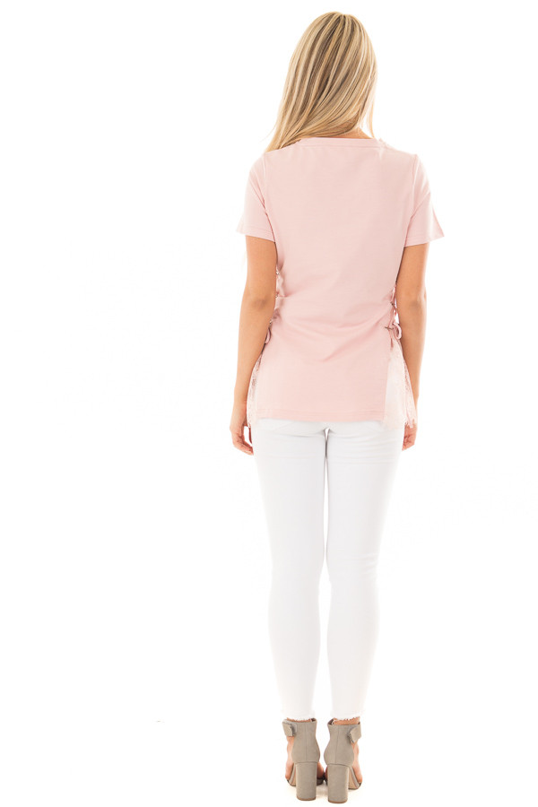 Blush Top with Sheer Lace Contrast and Tie Up sides back full body