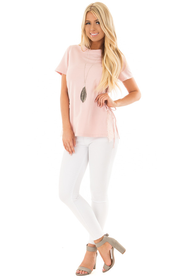 Blush Top with Sheer Lace Contrast and Tie Up sides front full body