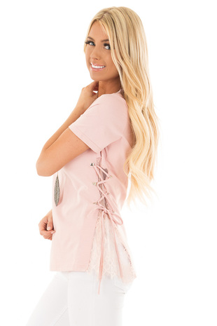 Blush Top with Sheer Lace Contrast and Tie Up sides side close up