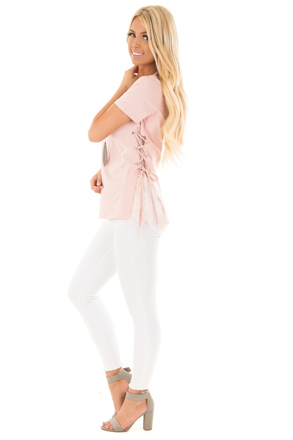Blush Top with Sheer Lace Contrast and Tie Up sides side full body