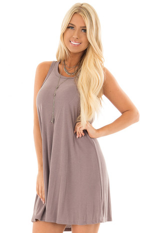 Misty Lilac Soft Knit Tank Top Swing Dress front close up