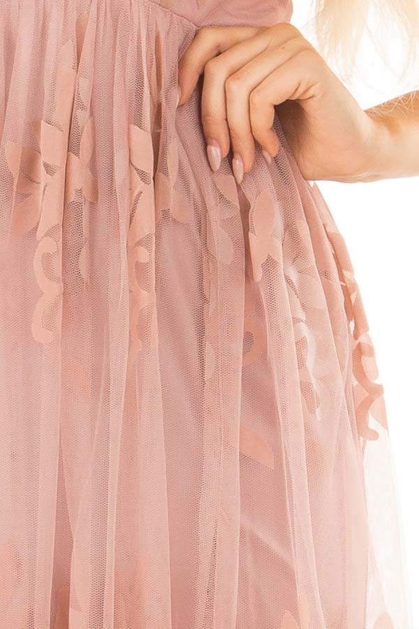 Blush Lace Maxi Dress with Floral Detail detail