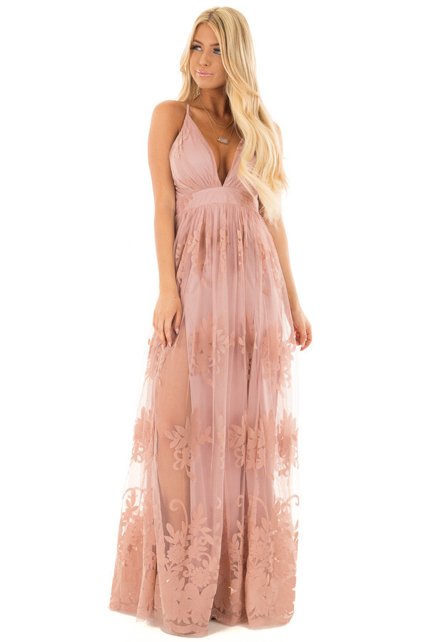 Blush Lace Maxi Dress with Floral Detail front full body