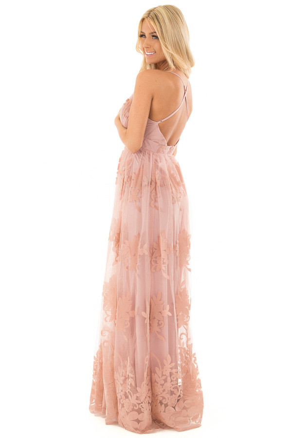 Blush Lace Maxi Dress with Floral Detail side full body
