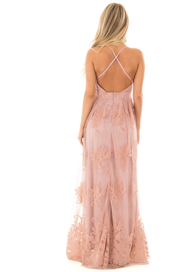 Blush Lace Maxi Dress with Floral Detail back full body