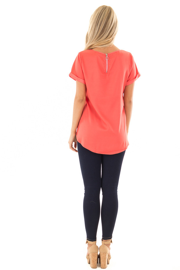 Coral Silk Short Sleeve Top with Zipper Back back full body