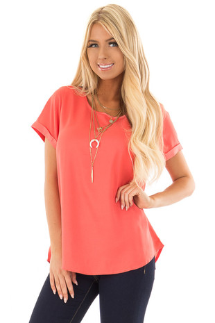 Coral Silk Short Sleeve Top with Zipper Back front close up